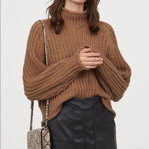 H&M Dark Brown Ribbed Knit Wool Turtleneck Sweater
